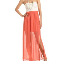 Crochet Bust 2-Fer Maxi Dress: Charlotte Russe