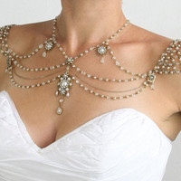 Necklace For The SHOULDERS, 1920s Style, Beaded Pearls And Rhinestone,Jazz Age,Antique Gold, OOAK Bridal Wedding Jewelry,By Efrat Davidsohn