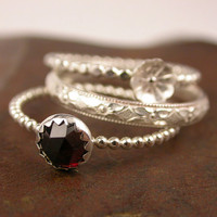 Red Garnet Sterling Stacking Rings by SimplyAdorning on Etsy