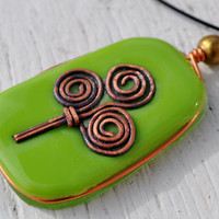 Green fused glass Irish Celtic necklace by GeckoGlassDesign