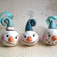 Set of THREE Snowman Ornamentsclay ornamentREADY TO by indigotwin