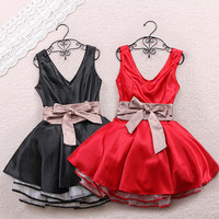 New heiress Princess v neck dress with bow [258]