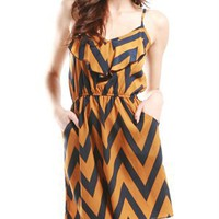 A'GACI Zig Zag Ruffle Cami Dress - Dresses