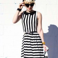 LOVE Black and White Stripe Contrast Dolly Dress - Love