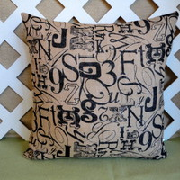 Burlap Pillow Cover in Beige with Black Tossed Lettering