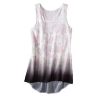 Juniors Graphic Floral High Low Graphic Tank - Light Cream