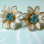 Bugbee & Niles White Daisy Aquamarine Rhinestone Earrings Screw Back | RefinedVintage - Jewelry on ArtFire