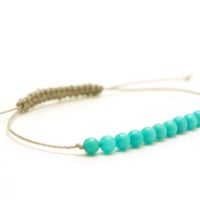 Turquoise grey cord bracelet by ZorNella on Etsy