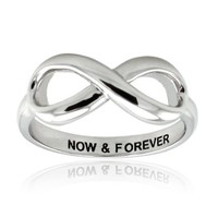 Sterling Silver Now & Forever Infinity Ring - Available Size