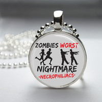 Round Glass Bezel Pendant Zombies Worst Nightmare by IncrediblyHip