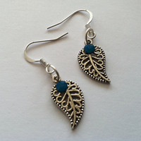 Awesome antiqued silver leaf charm earrings by Peachykeenthings