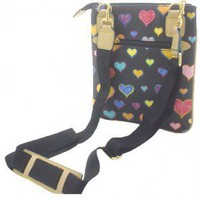 Black Multi Hearts Messenger Style Simulated Leather Tote