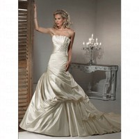 Fashionable Spring 2012 Silver Sculpted Asymmetrical Dropped Lace up Wedding Dress