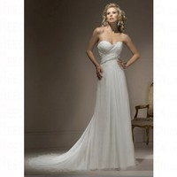 Simple Spring 2012 Sweetheart Bursh Train Empire Lace up Wedding Dress