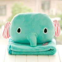 Multi-use Elephant Head Blanket&Cushion