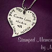 My Heart Walks Around Outside My Body - Hand Stamped Necklace - Personalized with Birthday and Name  - Mommy Jewelry