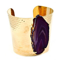 Pree Brulee - Purple Agate Slice Hammered Cuff