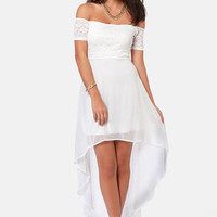 Kiss on the Chic White Off-the-Shoulder Dress