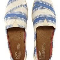 TOMS Navy Umbrella Stripe Espadrille Flat Shoes at asos.com