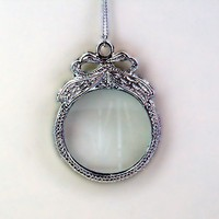 Magnifying Glass Necklace with Bow by crumpetcake on Etsy