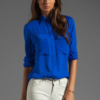 MAX FOWLES 2 Pocket Blouse in Blue from REVOLVEclothing.com