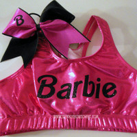 Bar Bar Pink/Black Metallic Sports Bra and Bow by SparkleBowsCheer