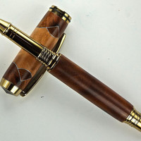 Handcrafted Wooden Pen Hand Turned Scalloped Thuya Burl and Madrone Burl with Aluminum accents and Gold Titanium Hardware 414P