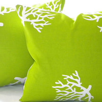 Double sided Designer Pillow cover Chartreuse/ White Coral Lime indoor/outdoor  20 x 20