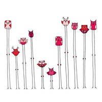 Fern Tree Owls - The Whole Gang Vinyl Wall Decal Set