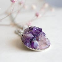 Amethyst and Rose Quartz Necklace - Teardrop Pendant - silver plated - Mothers Day