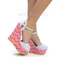 Lilac Bow Chevron Ankle Strap Open Toe Wedge Heel Sandals Purple Pink Fashion