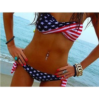 2 Pcs Stars and Stripes Bikini Set
