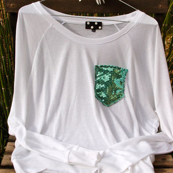 """Batwing Tee - """"Dazzle Pocket"""" - Long Sleeve T-shirt -  w/Mint Sequin Chest Pocket"""