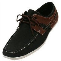 Black & Brown Boater Loafer Style Men's Shoes (F00868)