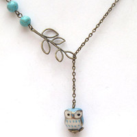Antiqued Brass Leaf Turquoise Porcelain Owl Necklace by gemandmetal