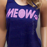 MEOW paw Cat kitten Racerback Tank Top workout Womens American Apparel fitness pet love gym top Tri-Blend S, M, L