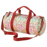 Geometric Printed Duffel Bag - Coral