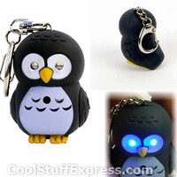Hooting Owl Flashlight Key Chain