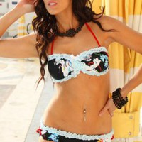 BLACK LT BLUE RUFFLY LACE MINI BOWS SEXY PUCKER BACK BANDEAU SWIMSUIT @ Amiclubwear Two-piece swimsuits Online Store,two-piece swimsuits,tank suit,leotard,simply two-piece,bikini,sheer bikini,thong swimsuit,sling bikini,pretzel suit,two piece swimming sui