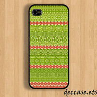 IPHONE 5 CASE Aztec Tribal Maya Green And Red color line stripe iPhone 4 case,iPhone 4S case,iPhone caseHard Plastic Case Rubber Case