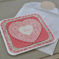 Embroidered Mini Card, Vintage Heart Card, Retro Mini Card - Dream