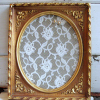 Earring and Jewelry holder, from a Glamorous vintage gold french chic frame and lace covered gold metal mesh