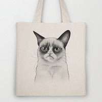 Grumpy Cat Portrait, Tard Drawing Tote Bag by Olechka | Society6