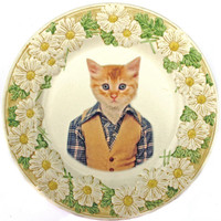 Tommy C., School Portrait - Altered Vintage Plate, X large