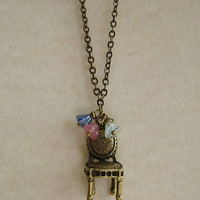 Hand Made My Little Garden Chair Necklace - Unique Vintage - Cocktail, Evening, Pinup Dresses