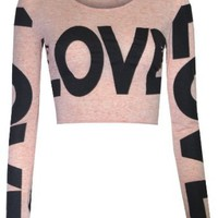 Amazon.com: Womens Love Long Sleeved Crop Top: Clothing