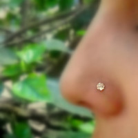 Nose Ring Stud 14K Solid Yellow Gold by Holylandstreasures on Etsy