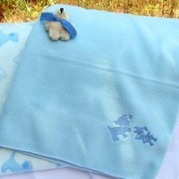 Embroidered Blue Puppies Playful Puppy with Bone Baby Fleece Blankets