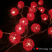 Red Rattan Ball String Lights For Wedding and House decoration (20 Flowers/Set)