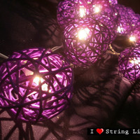 Purple Rattan Ball String Lights For Wedding and House decoration (20 Flowers/Set)